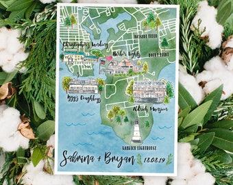 Map Of Watercolor Florida.Watercolor Wedding Map St Petersburg Florida Custom Wedding