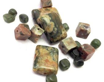 Green Rhyolite Rainforest Jasper 9 beads & 10 Jade BC nuggets, Loose Beads, Semi Precious Gemstone Beads, Zen Woodland Natural, 5.50 to US