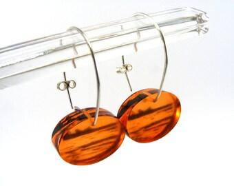 Drop Earrings Redcar Seaside Oval Orange dangle earrings