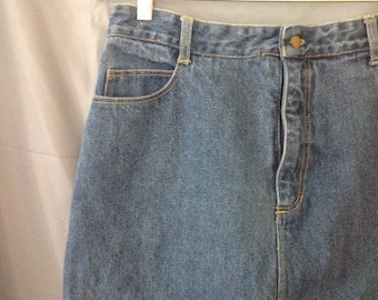 1980s high waisted denim pencil skirt, jean skirt, vintage size 12, waist 30 inches, SUDDEN IMPACT brand