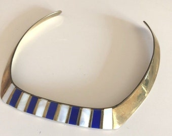 Vintage 70s Cleopatra Style Egyptian Revival Collar Necklace  Brass