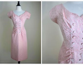 Vintage 50's Pink Brocade Dress - 1950s Save The Last Dance For Me Dress