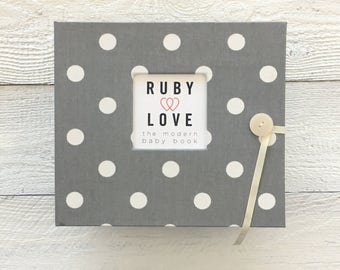 BABY BOOK | Gray Polka Dot Album