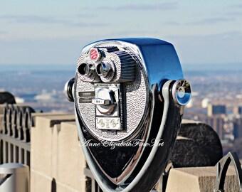 New York Photography, New York Skyline, New York Office Art, Dorm Decor, Manhatten, Rockefeller Center, Blue Sky, Art Deco