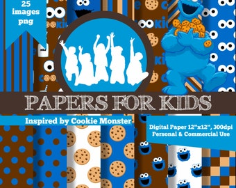 Digital Papers, Cookie Monster, Sesame Street, Background, Kids, Birthday, Clipart, Papers for kids