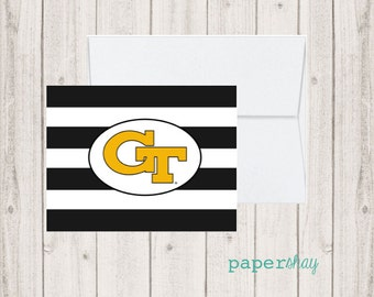 Personalized Stationery, Personalized stationary,  Monogram stationery, Monogram Note Cards, Personalized Notecards, GEORGIA TECH