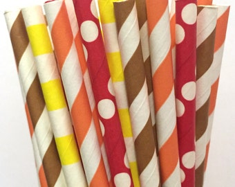 2.85 US Shipping -Fall Paper Straws - Thanksgiving Paper Straws - Cake Pop Sticks - Drinking Straws