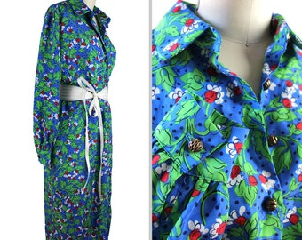 Vintage Red Mini Floral Print Blue Long Shirt Dress with Pockets - size 16