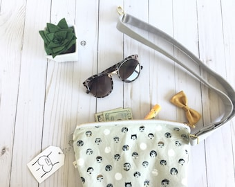 fanny pack, grey fanny pack, bum bag, festival pack, polka dot fanny pack, face fanny pack, mustard bow, hands free