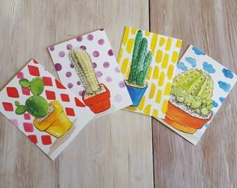 Cactus Watercolor Postcards (set of 4)