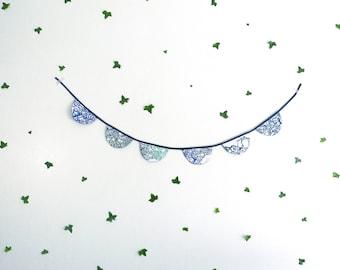 Garland of blue and green fabrics, 6 flags Moon, printed and handmade silkscreen