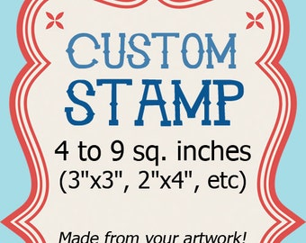 Custom Stamp Rubber- Logo Wedding Address Clear 4 to 9 sq in 3x3