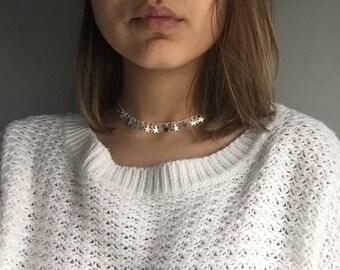 Silver jewelry, dainty choker, Boho Choker, choker Necklace, Silver Necklace, Star Necklace, chic choker, unique choker, necklace choker