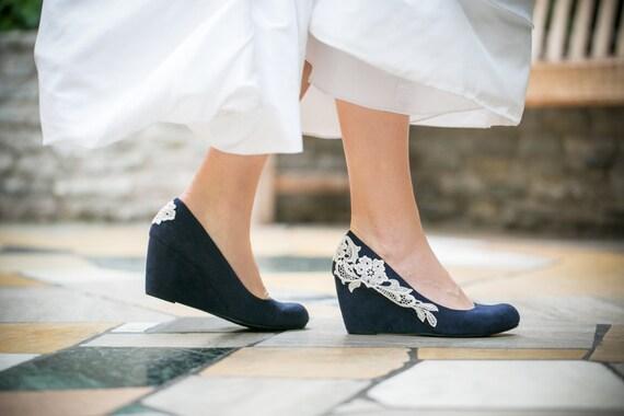 Wedge Heel Shoes For Wedding: Wedding ShoesNavy Blue WedgesBridal HeelNavy WedgeBlue