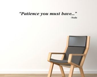 Star Wars Patience Wall Decal / Yoda Wall Quote Sticker / Gift Ideas / Home Decor /  sc 1 st  Etsy & Star Wars Do or Do Not Wall Decal / Yoda Wall Quote Sticker