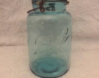 Blue Ball Mason Jar with Glass Lid