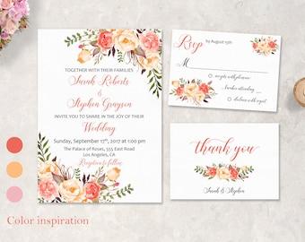 Peach Coral Floral Wedding Invitation Suite Summer Pink Boho Digital Wedding Invite Set Spring Printable Wedding Invitation - WS040