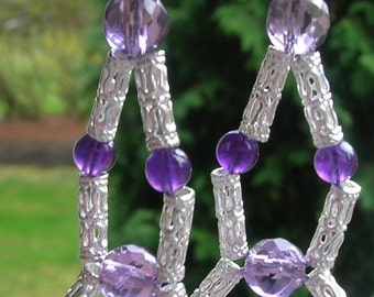 DIAMOND ROYAL - Amethyst and Sterling Silver Chandelier Beaded Earrings - Handmade by Dorana