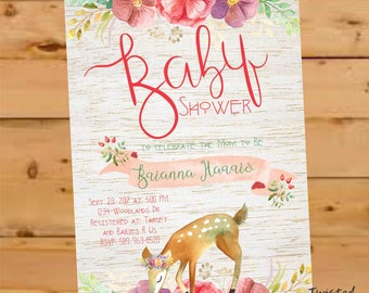 Woodland Invitation, Woodland Baby Shower Invite, Oh Deer Baby Shower Invite, Forest baby shower invitation, Enchanted Forest Baby Shower