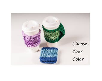 Coffee Cup Cozy, Handle, Warmer - Made to Order, Custom, Color Choice