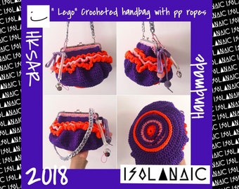 Lego-crocheted handbag with pp ropes in lolipop style