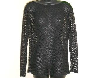 Tribal Fusion Bellydance Black Mesh Shirt Small Medium