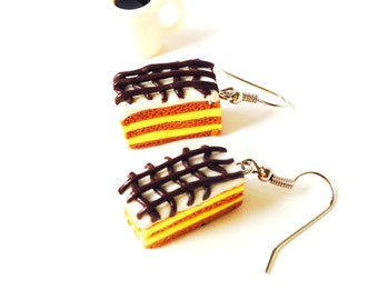 Earrings, THE MILLEFEUILLES, // made to order //miniature pâtisserie, polymer clay, silver colored hooks by The Sausage