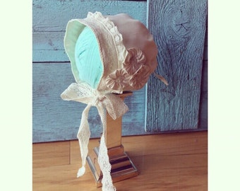 baby baptism BONNET ivory Dupioni silk or cotton with a trio of rosettes and lace LAYLA's LACE custom newborn to 12 months