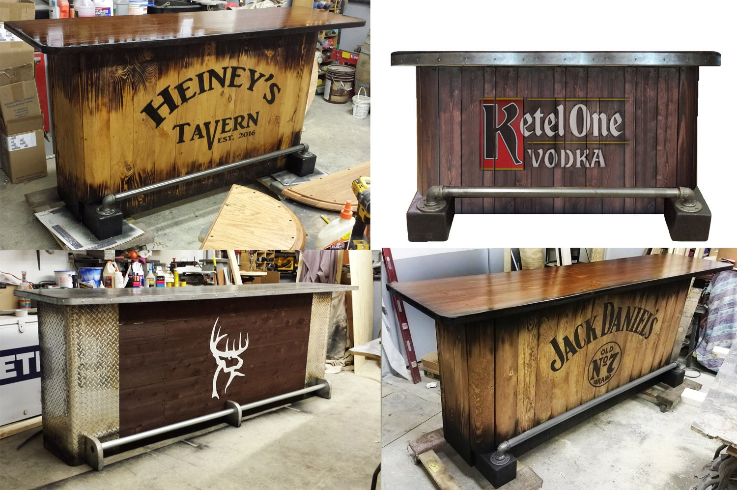 Custom Home Bar Hand Built Rustic Whiskey, Pub, Man Cave, Barn, Reception  Desk, U Ship. Built To Order. Customized Requests. Personalized