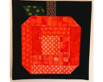 """PDF, Log Cabin Pumpkin Quilt Pattern, 8""""x8"""" Quilt Block, Paper Piecing, Halloween Quilt, Fall Quilt"""