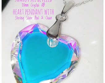 Swarovski Crystal AB 28mm Heart Pendant With Sterling Silver Bail & Chain