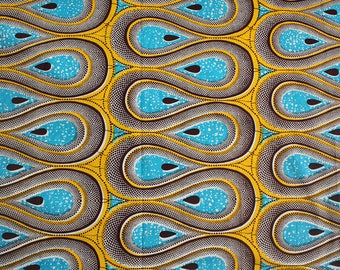 African fabric, Turquoise and Yellow Ankara, Wave Print, 6 yards, 5.5 metres, 100% Cotton, Modern African print fabric, Made in Africa
