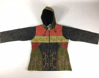 Large - Full Zip Patch Cotton Hooded Jacket - Made In Nepal P6XnMDi