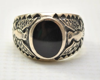 Onyx Oval with War Bird in Sterling Silver Ring Sz 12 #8792