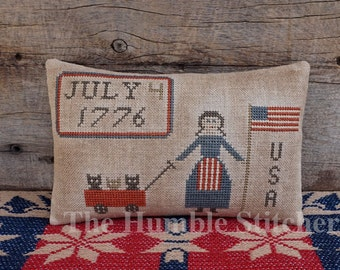 Happy Birthday USA...Primitive PAPER Cross Stitch Pattern By The Humble Stitcher