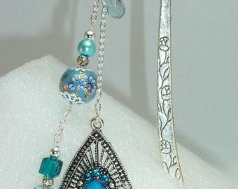 "Large bookmark Silver ""Indian"" turquoise"