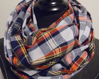Plaid.Summer scarf,Infinity Scarf.Spring Plaid.Navy Blue.Yellow.Red.White.Gift for Her.Plaids.Tube Scarf.Circle Scarf