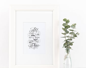 Scripture/quote printable art print in modern calligraphy