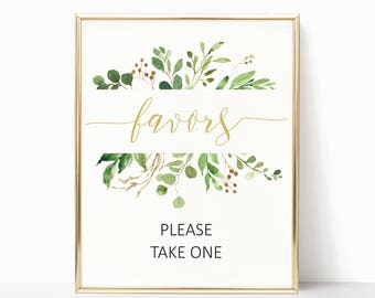 wedding favors printable wedding favors sign wedding signage green wedding print greenery wedding favors please take one printable sign ITW