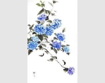 Blue Hydrangea Japanese Ink Painting Asian Watercolor Ink Painting Sumi-e Asian art Suibokuga
