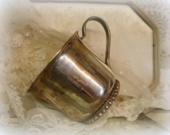 vintage silver plate baby cup monogrammed kurt complete with patina made by leonard silver plate hong kong