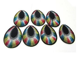 Set of 10 seconds 5 Cm - Customisations Peacock tail textile applique / patch iron - MULTICOLORED black and gold for sewing