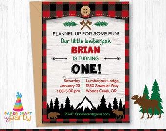 Lumberjack Invitation - Printable Lumberjack Invite - Nature Woodland Party - Buffalo Plaid - Instantly Download & Edit at Home Adobe Reader