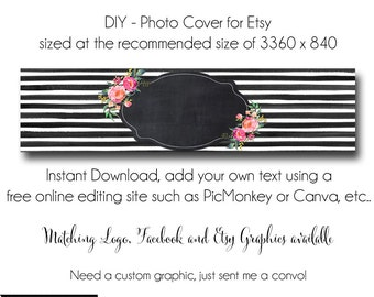 Etsy Cover Photo - Add your own Text, Instant Download, Oh Carolina, New Cover Photo For Etsy, Made to Match Graphics, DIY