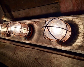 Industrial Bathroom Vanity Light Fixture Pine Panel - Nautical bathroom vanity lights