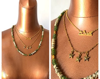The Trails Are Calling - Golden Mountains, Starry Skies - Layered Choker Necklace - Psychic Feldspar Beads with Green and Gold - Body Decor