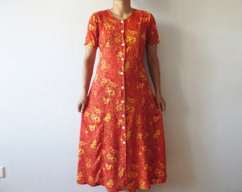 Vintage 80s Orange Yellow Floral Print Dress Button up Short Sleeve Tied at the back Summer Maxi Dress Size Medium To Large
