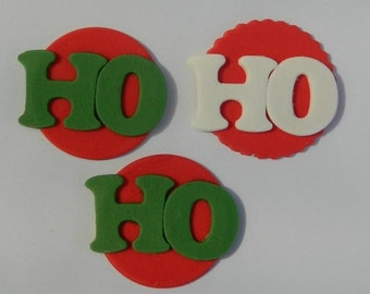 12 edible CHRISTMAS HO HO discs cake cupcake decoration novelty topper cute gift xmas party birthday holiday cookie