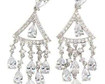 Shining  triangle crystal pendant silver earrings