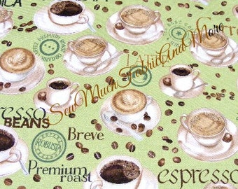 Metro Cafe Fabric~by the 1/2 yd~Robert Kaufman~Coffee~latte~Expresso~Hot Beverages~Mint color